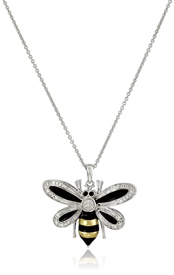 925 Oxidized Sterling Silver Queen Honey Bee Little Bumblebee Pendant Necklace