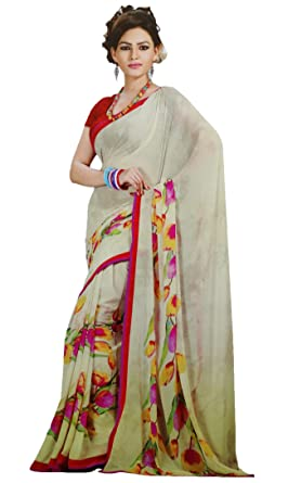 07c226477d Traditional Indian Sari with Blouse Floral Printed Saree Georgette Saris:  Amazon.co.uk: Clothing