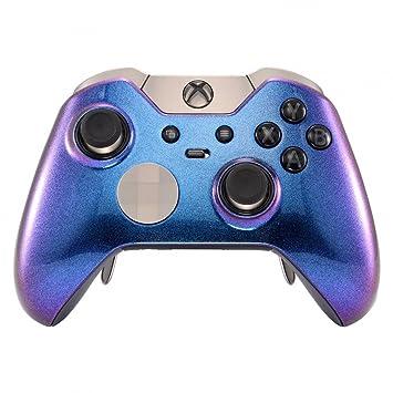 eXtremeRate Carcasa con 2 Anillos de Acento Mando Xbox One Elite Protectora Brillante Placa Frontal Kit de reemplazo Cubierta Shell Funda para ...