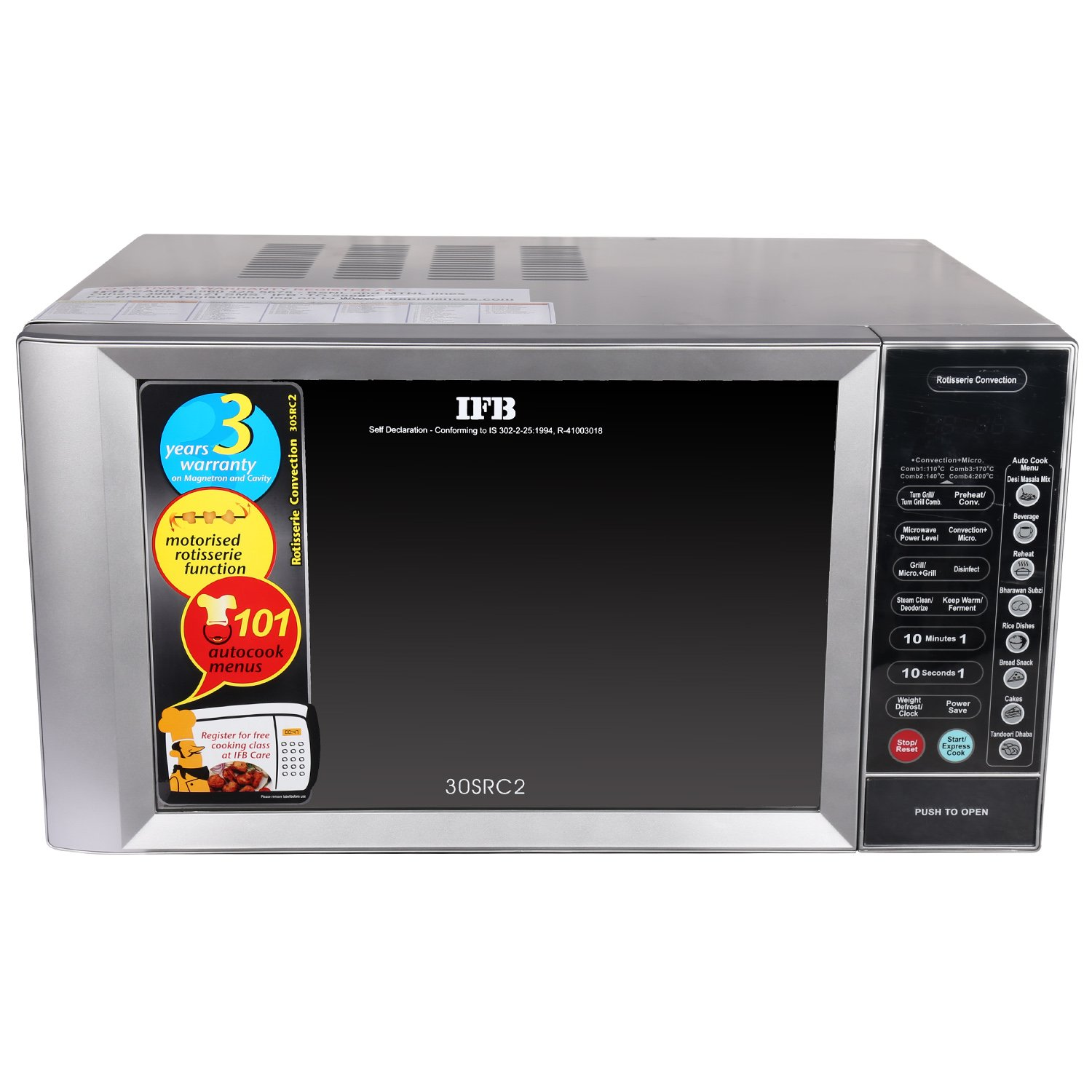 ifb 30 l convection microwave oven 30src2 metallic silver amazon rh amazon in ifb microwave oven user manual ifb microwave oven 25sc2 user manual