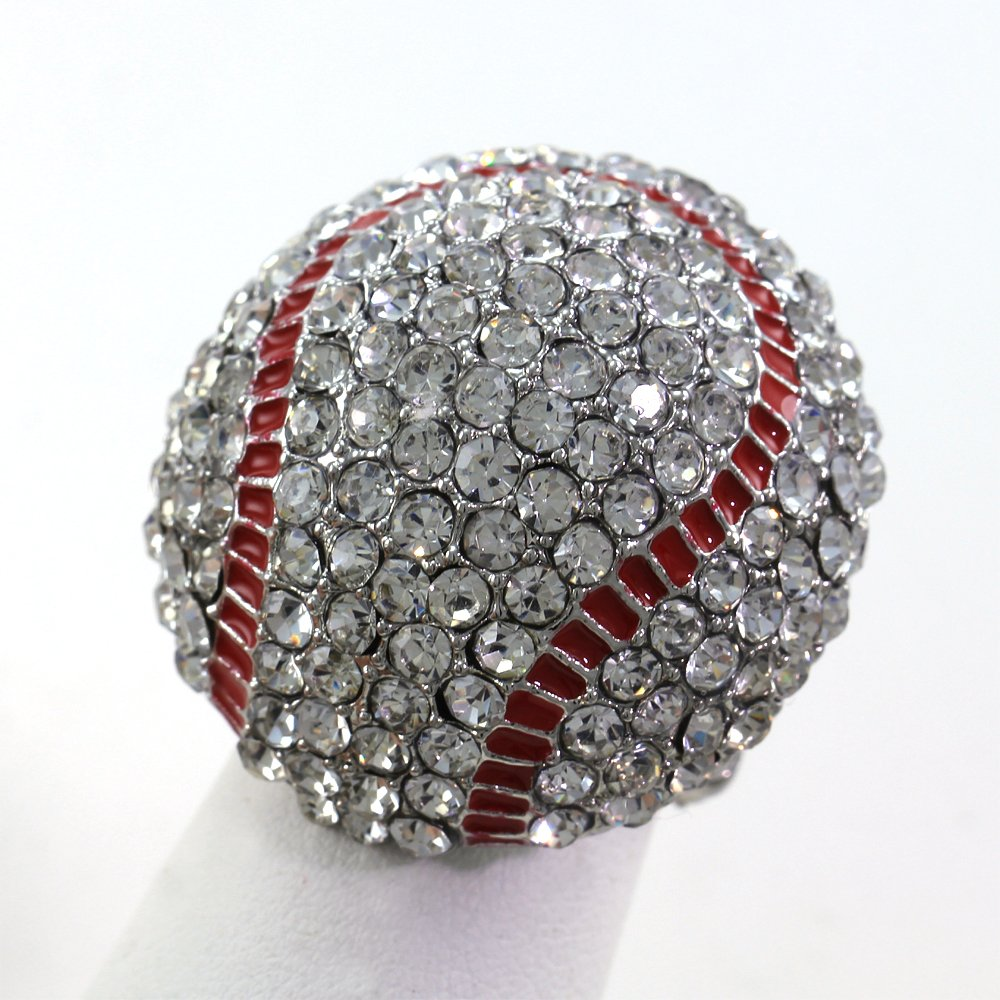 Baseball Sports Ring Red Enamel Clear Rhinestones by Soulbreezecollection (Image #1)