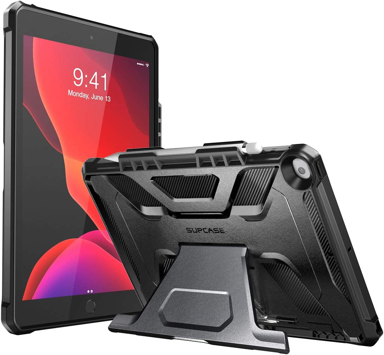 SUPCASE UB Series Designed for iPad 10.2 2019/2020, iPad Air 3 Case 10.5 Inch, with Built-in Apple Pencil Holder Full Body Rugged Protective Case for iPad 8th Generation / iPad 7th Generation(Black)