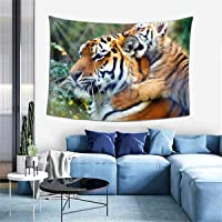 Cyloten Bohemian Wall Hanging Hippie Hippy Tapestry Tiger Mother and Kid Plying Love 3D Print Indian Throw Home Decor…