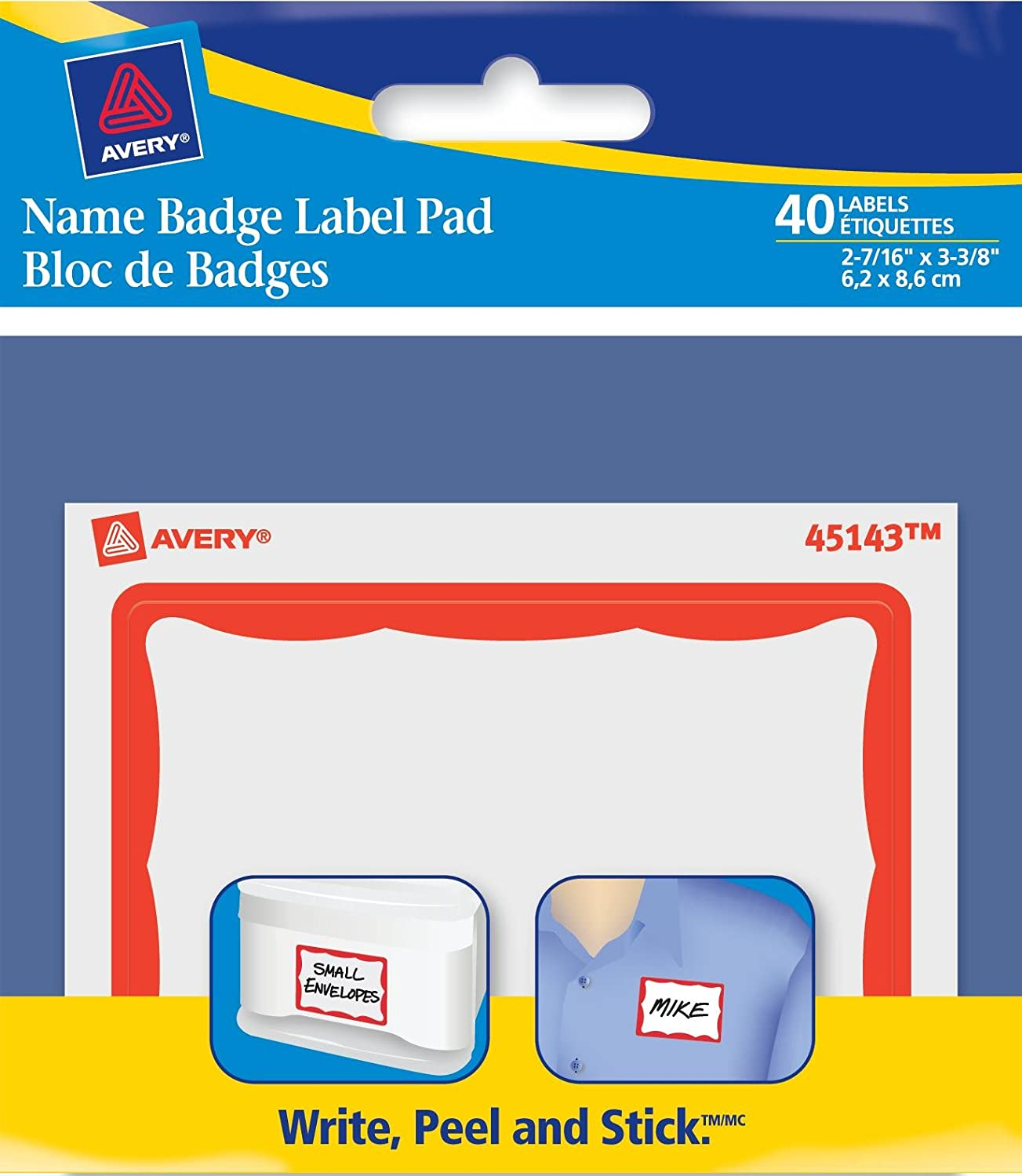 Avery Name Badge Label Pad, 2-7/16 x 3-3/8, Red Border, Rectangle, 40 Labels, Removable (45143) 2-7/16 x 3-3/8 Avery Dennison CA