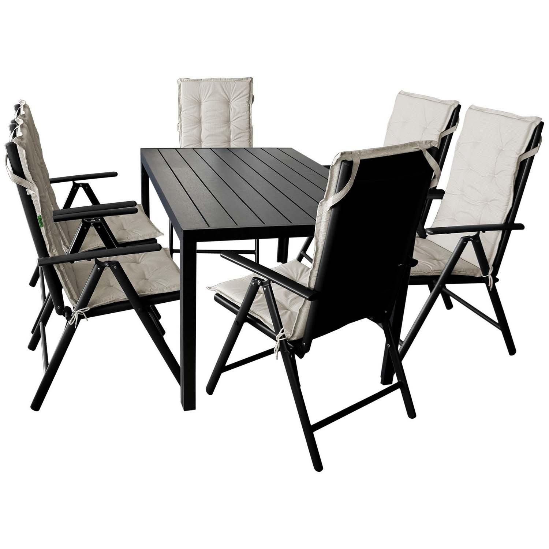 Sitzgruppe Gartentisch, Polywood Tischplatte, 150x90cm + 6x Hochlehner,  Textilenbespannung, Rückenlehne Um 7 Positionen Verstellbar, Klappbar + 6x  ...