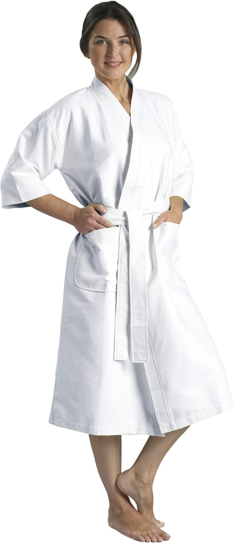 MONARCH Chamois Microfiber Kimono Hotel Robe - Lightweight Absorbent Soft Spa Bathrobe Cypress