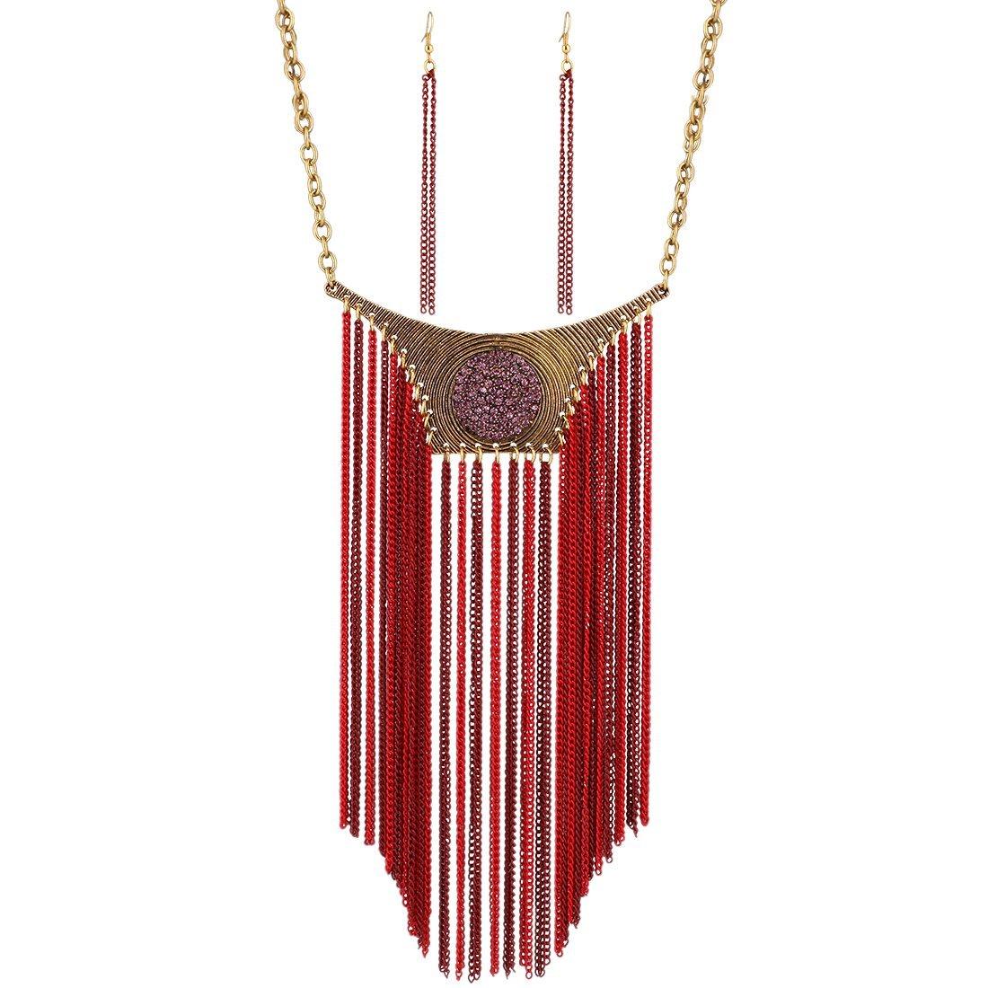 Qiyun Funky Long Tassel Chain Bling Rhinestone Tribal Necklace Earrings Set Long Gland Tribale Collier W005N2014
