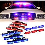 DT MOTO™ Blue Red 54X LED Police Vehicle Dash Deck Grille Strobe Warning Lights - 1 set