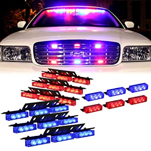 DT MOTO™ Blue Red 54X LED Police Vehicle Dash Deck Grille Strobe Warning Lights - 1 set