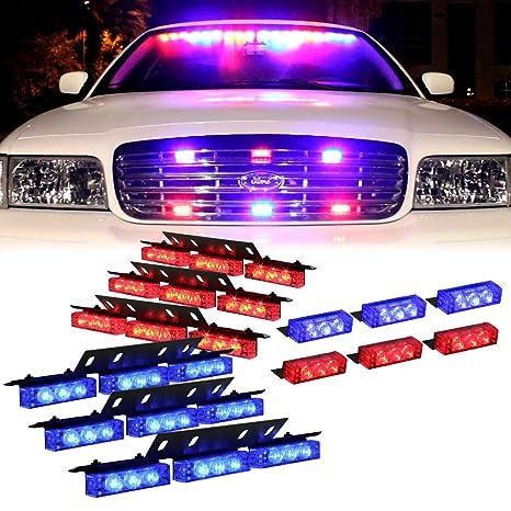 Police Led Lights >> Amazon Com Dt Moto Blue Red 54x Led Police Vehicle Dash Deck