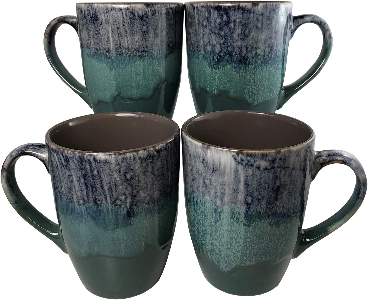 Reactive Glaze Coffee Mugs | Set of 4 (Green) | 16oz Ceramic Tapered Mugs | Microwave & Dishwasher Safe