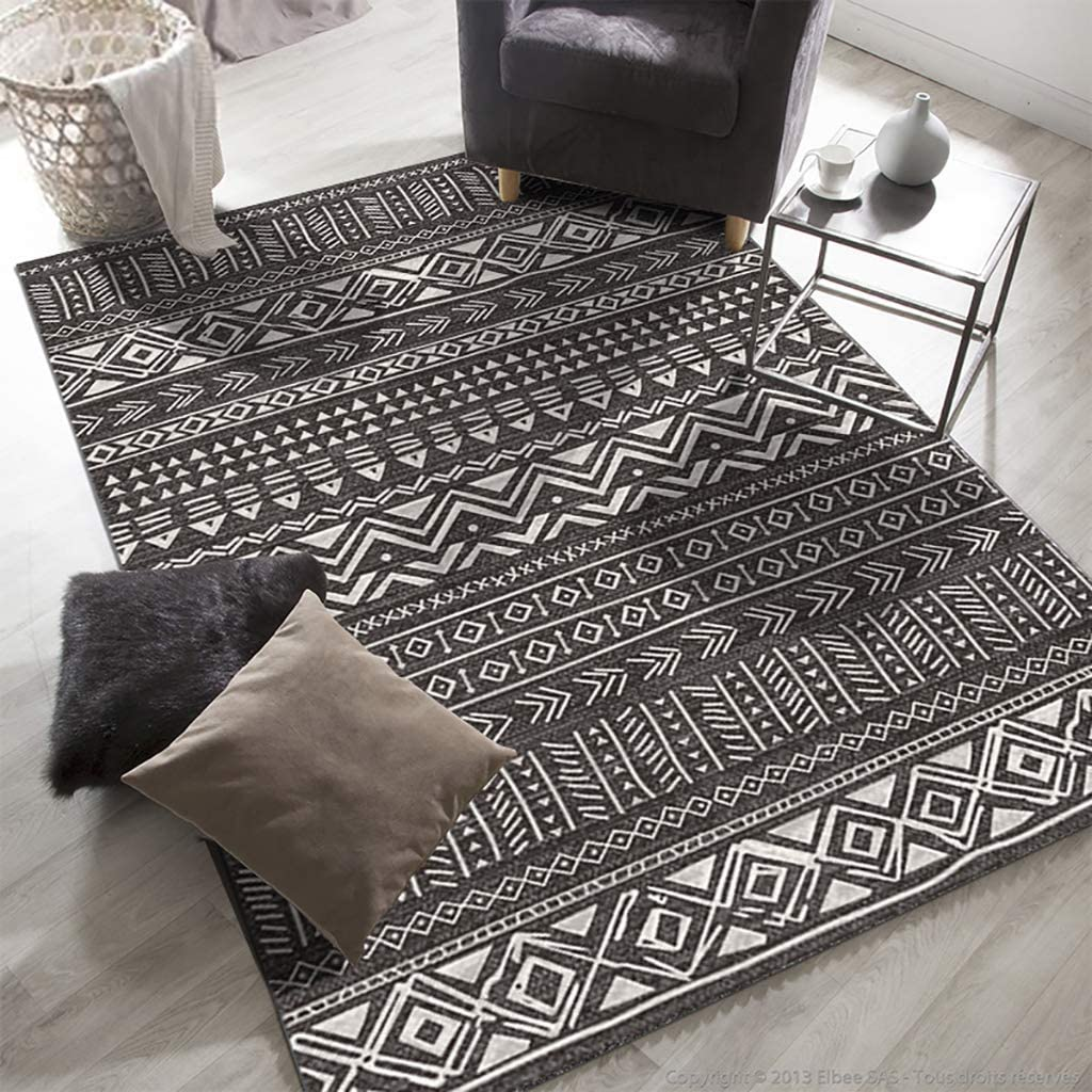 Vintage Moroccan Area Rug,Modern Geometric Polyester Area Rug Bohemian Chic Rectangle Carpet Washable for Living Bedroom Decor A 200x140cm(79x55inch)