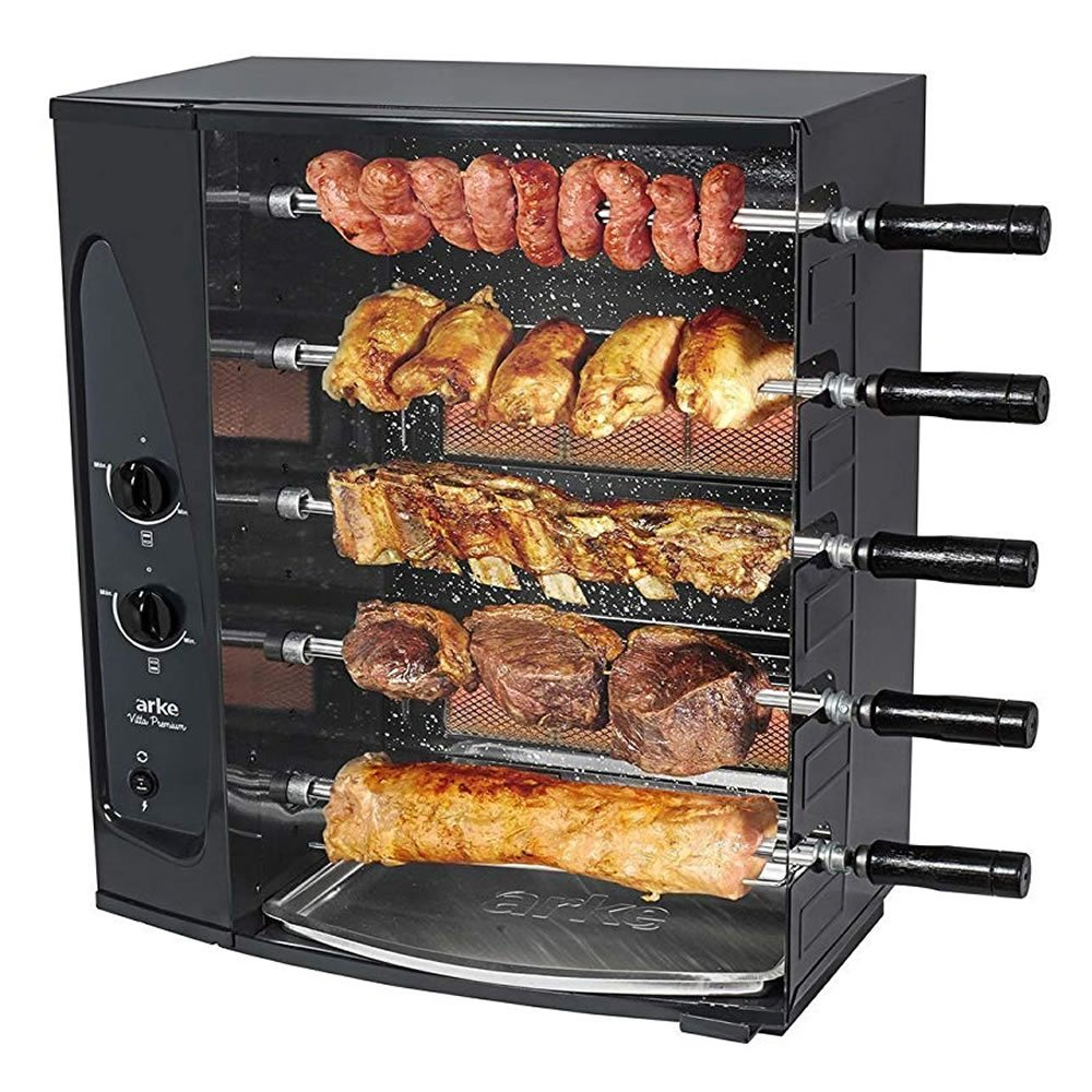 ARKE BBQ Grill 5 Skewer Gas Rotisserie Authentic Brazilian Barbecue at Home - BBQ Roaster Oven - Perfect for Chicken, Fish, Beef, Vegetables & More! by ARKE (Image #1)