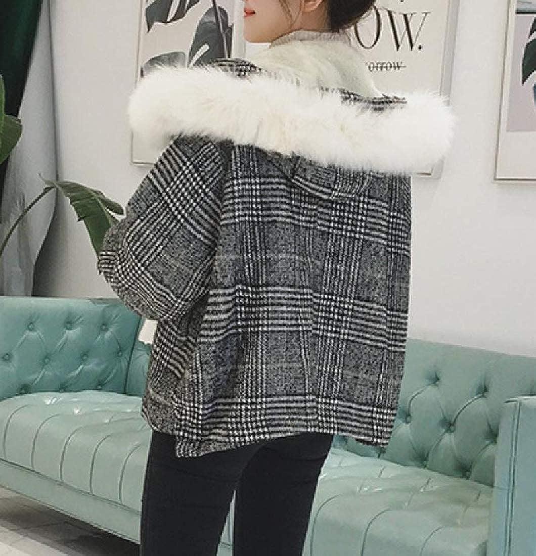 YUNY Womens Fur Collar Padded Coat Lattice Detail Peacoat Jacket XL