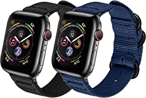 Watpro Compatible with Apple Watch Band 38mm 40mm 42mm 44mm Women Men Nylon Rugged Replacement iWatch Band Military-Style Buckle Grey Adapters for Sport Series 5 4 3 2 1 (2-Black+Navy blue, 38MM/40MM)