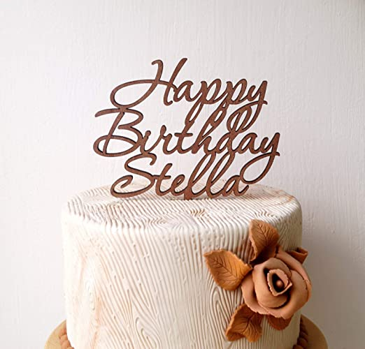 Amazon Personalized Happy Birthday Cake Topper Custom Wooden Rustic Party Handmade