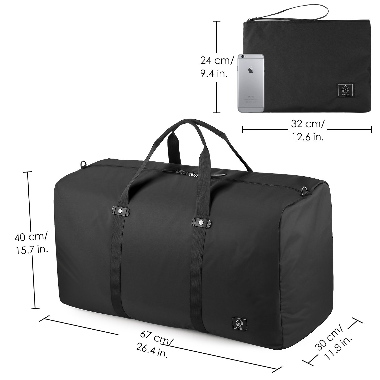 GAGAKU 80L Foldable Travel Duffel Bag Packable Lightweight Duffle Large Flight Cabin Bags for Travel - Black by GAGAKU (Image #6)