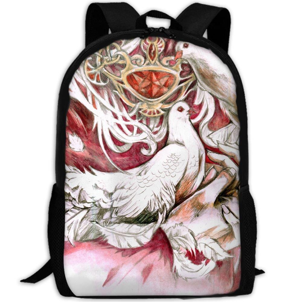 OIlXKV Pigeons Painting Art Print Custom Casual School Bag Backpack Multipurpose Travel Daypack For Adult