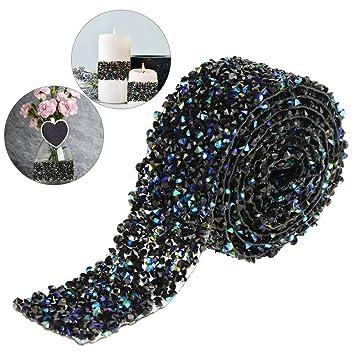Diamond Mesh Wrap Roll Sparkle Crystal Rhinestone Ribbon for Wedding Party Birthdays Decoration Blue with Black