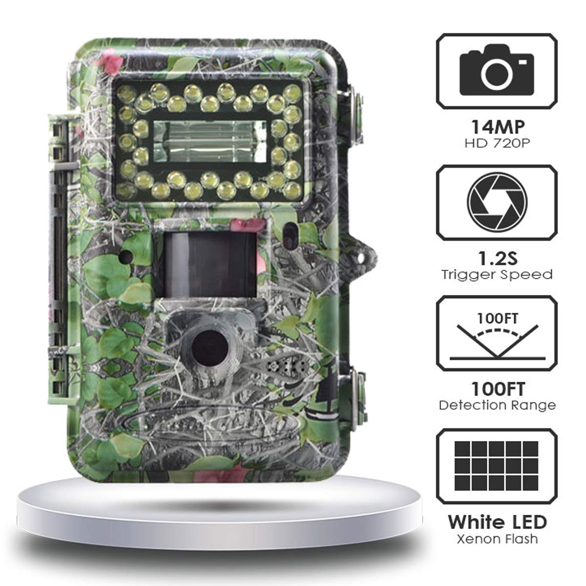 Hunting Trail Game Camera,14MP Scouting Camera 2 LCD 720P 100FT Detection Range White Flash LED Trail Cameras Support Color Picture and Video at Night for Hunting,Farm Monitoring,Security
