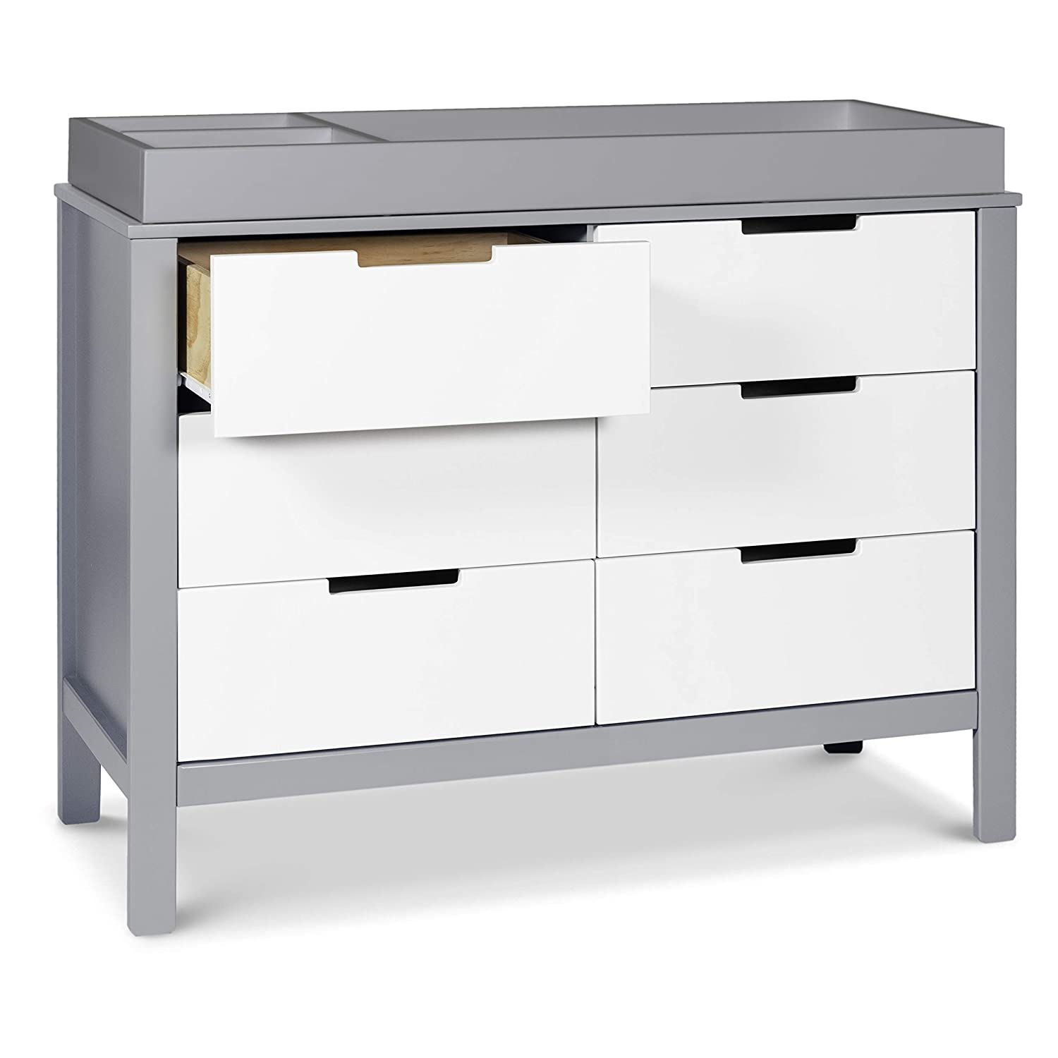 Carter's by Davinci Colby 6-Drawer Dresser in Grey and White