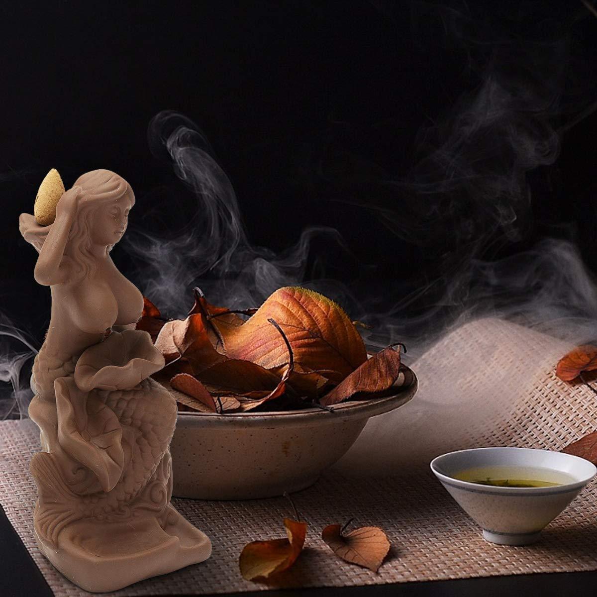Jeteven Keramik Räucherstäbchenhalter Rückfluss Räuchergefäß Luftbefeuchter für Freies Kegel \'\'Meerjungfrau\'\' Aromatherapie Räucherstäbchen Rückfluss Weihrauch (8 x 7 x 17.5 cm)