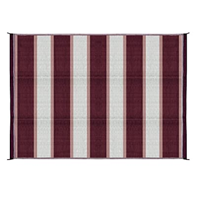 Camco 42872 Awning Leisure Mat-Burgundy Stripe 6' X 9': Automotive