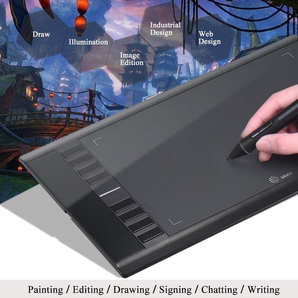230RPS 10 2048 Niveles de Sensibilidad a la Presi/ón Ugee M708 Tabletas Gr/áficas para la Artista 6 /Área Activa// 5080 LPI Negro