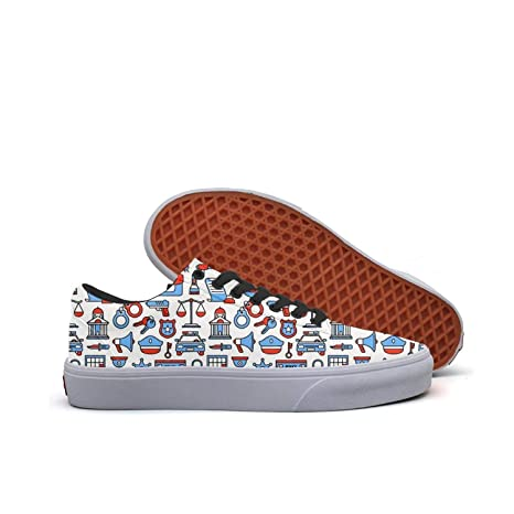 b2986d10c7ed5 Amazon.com: Police Car Blue Cars Low Top Canvas Sneakers Skateboard ...