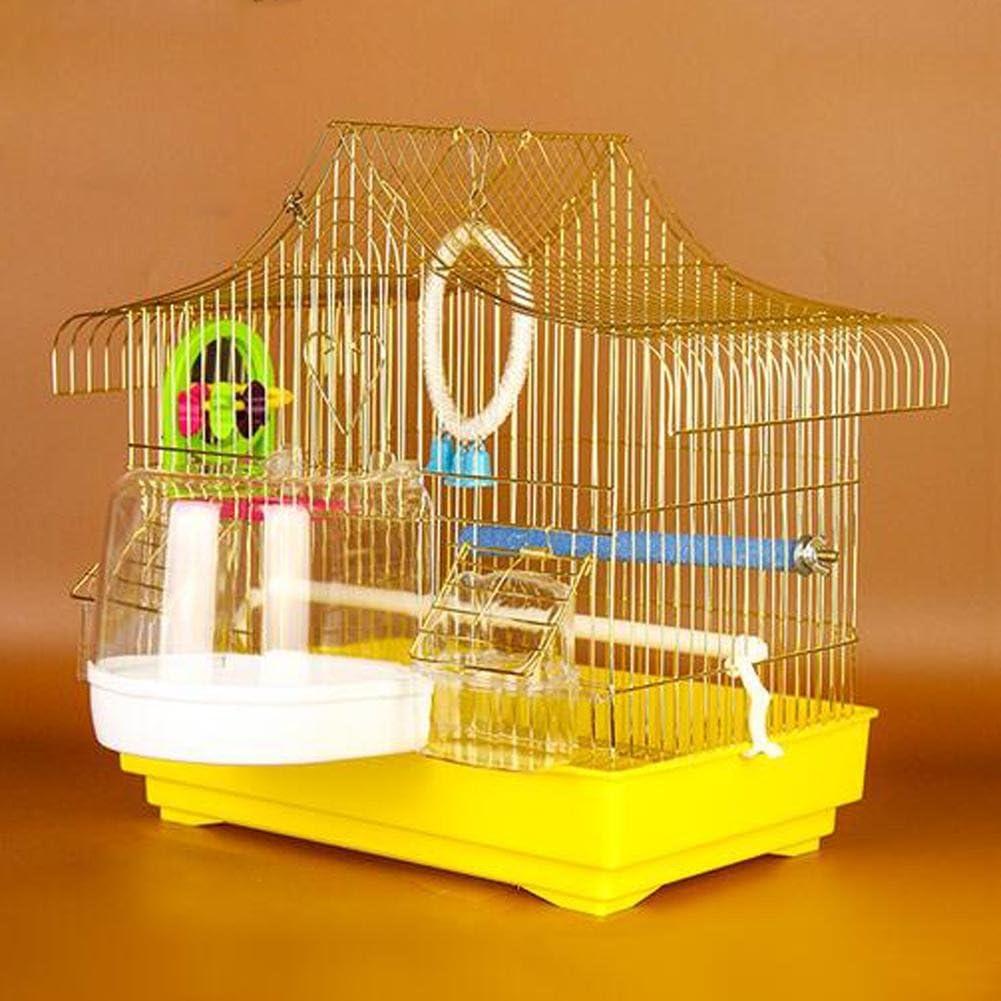 JiaYue Luxury100 de Alta Temperatura de Cromo Metal Jaulas para Pájaros de Oro de Color Pequeño 33x23x36CM, Golden Color, 33x23x36CM