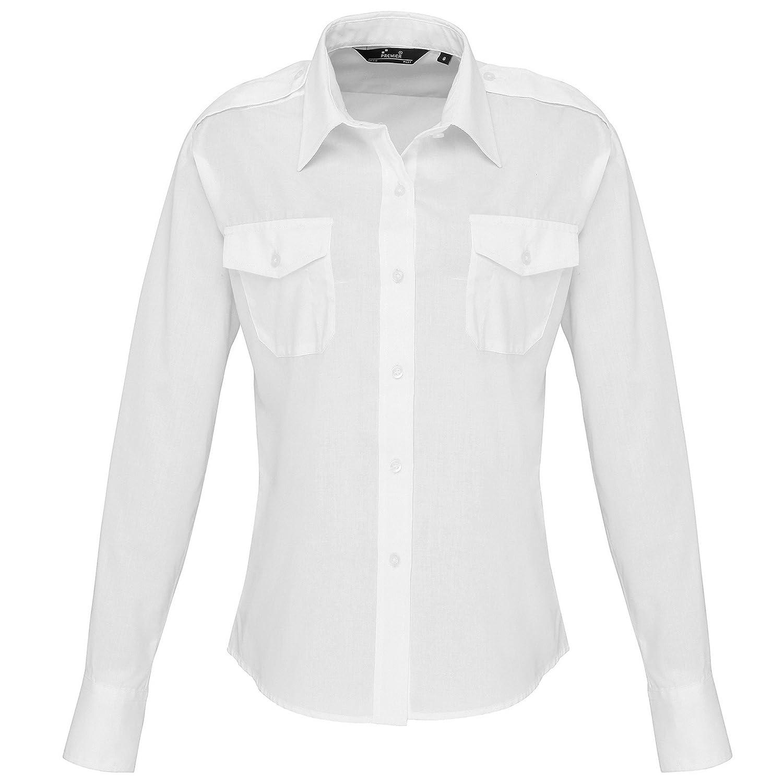 Premier Womensladies Long Sleeve Pilot Shirt At Amazon Womens