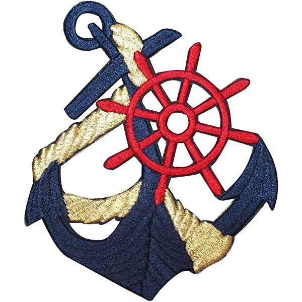 SHIP ANCHOR Nautical Wheel Iron On Fabric Embroidered Patch Applique Kids Craft