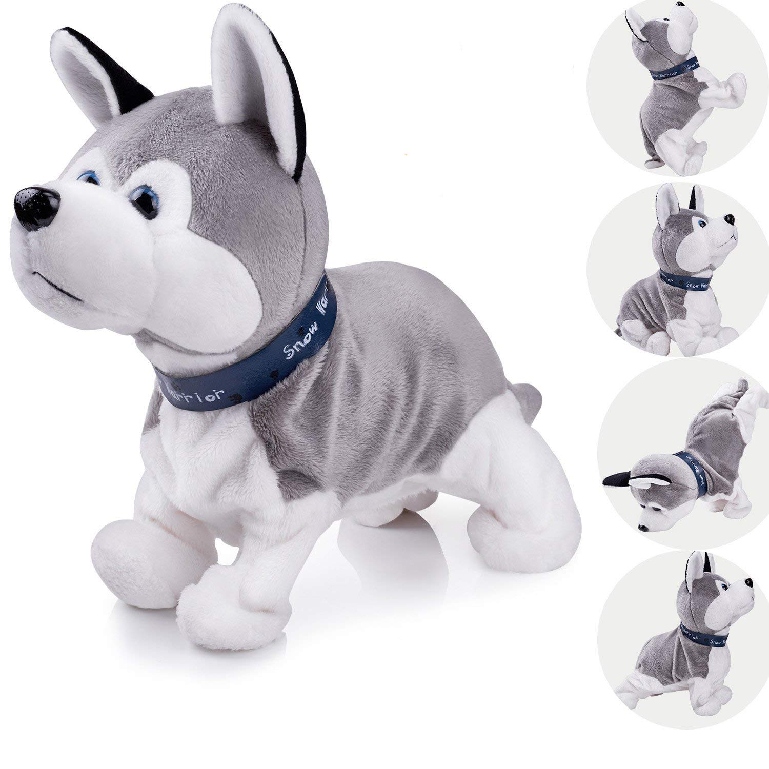Interactive Puppy Plush Animated Pet Electronic Dog Cute Robot Dog Baby Toys Touch Control Plush Husky Stuffed Animal Dog Toy Toddler kids Girl Toys Tumbling, Clapping hands, Bowing Length 12''