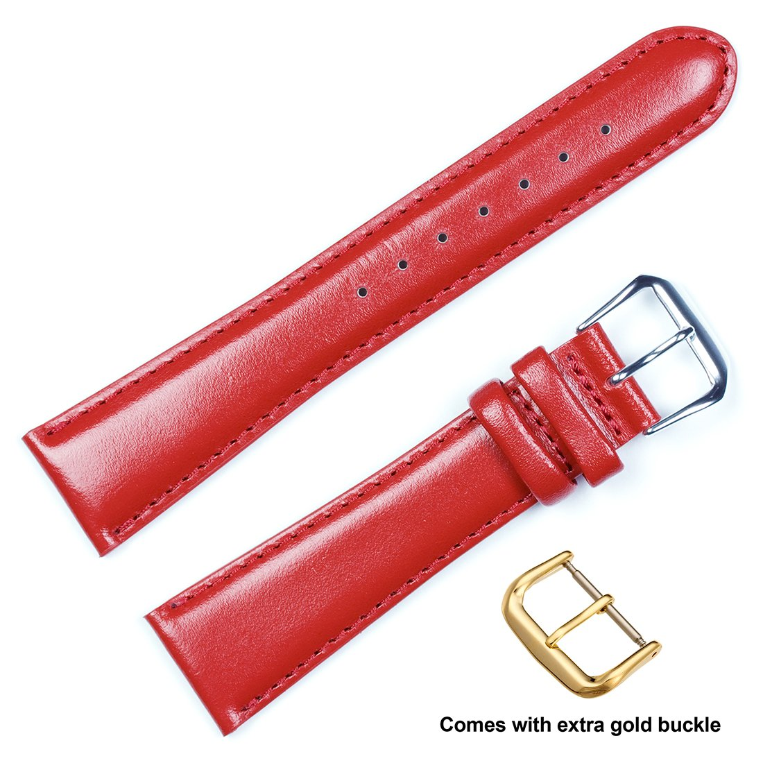 deBeer brand Smooth Leather Watch Band (Silver & Gold Buckle) - Red 19mm