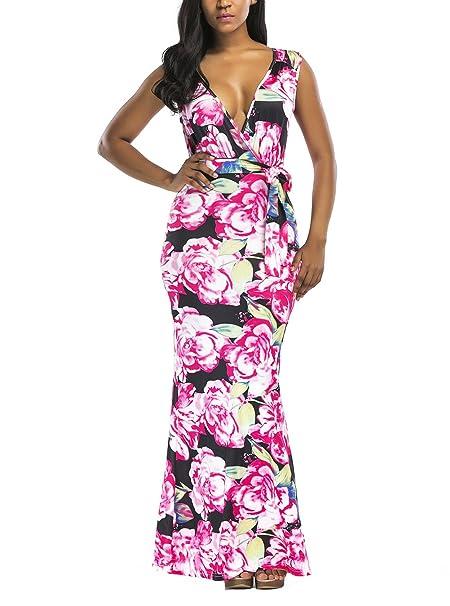 Vestidos Largos De Fiesta Mujer Elegantes Sin Mangas V Cuello Estampado Flores Moda Vintage Apretados Vestidos