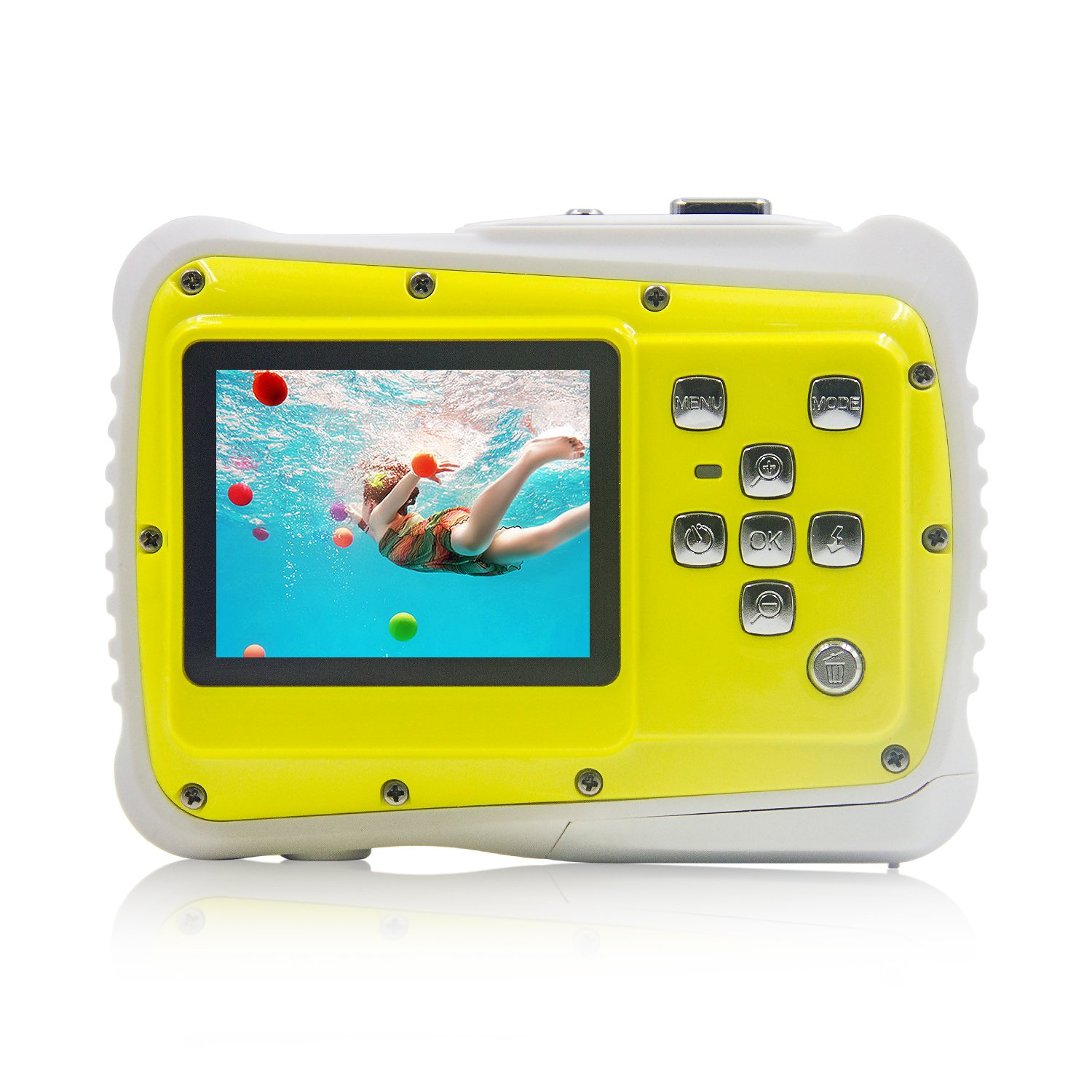 Underwater Camera Kids Digital Camera IP68 Waterproof Shatterproof Dustproof 5MP for Kids Outdoor use, Yellow,Sport Action Camera