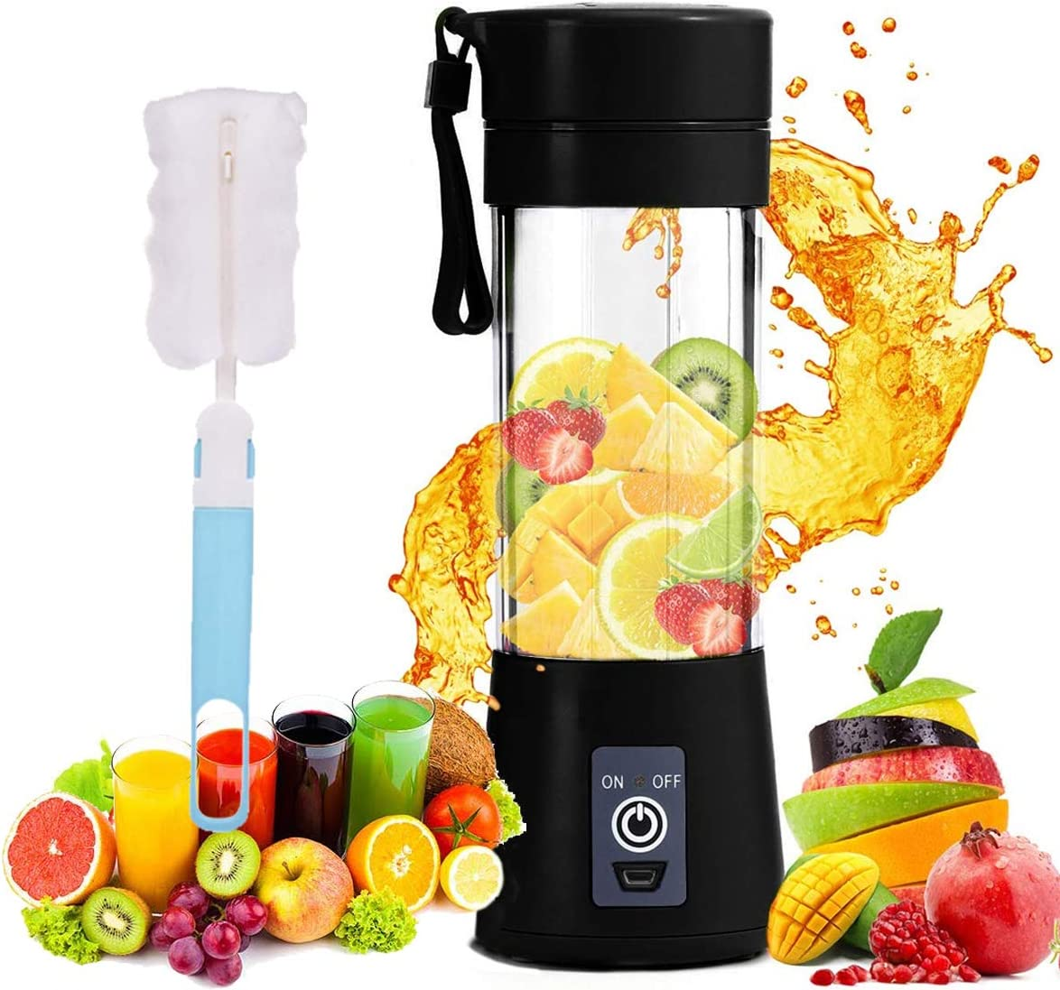 Portable Personal Blender, Household Juicer fruit shake Mixer -Six Blades, BPA Free 380ml Baby cooking machine with USB Charger Cable (black)