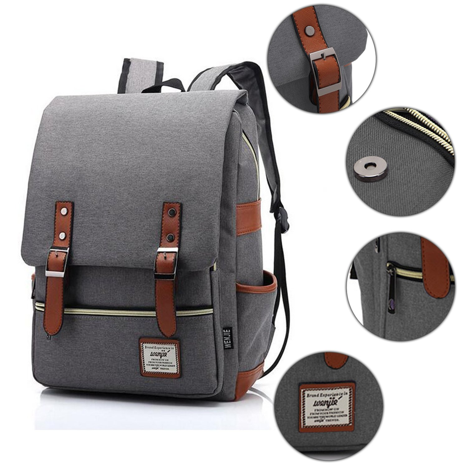 Vintage Canvas Backpack - Lightweight Canvas Laptop Outdoor Backpack, Travel Backpack with Laptop Sleeve, College School Bag with Side Pockets Canvas Rucksack for School Working Hiking (Retro Grey) by GoTravel2 (Image #4)