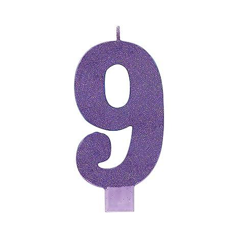 Amazon.com: Amscan, color morado # 9 cumpleaños con ...