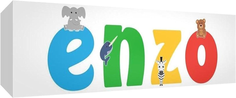 Little Helper para Nursery Lienzo con panel frontal, dibujo personalizable con nombre de niño Enzo 15 x 42 x 4 cm multicolor