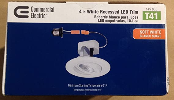Amazon.com: 12 Pack / T41 Commercial Electric 4 in. White Recessed LED Gimbal Trim CER4742AWH30: Home & Kitchen