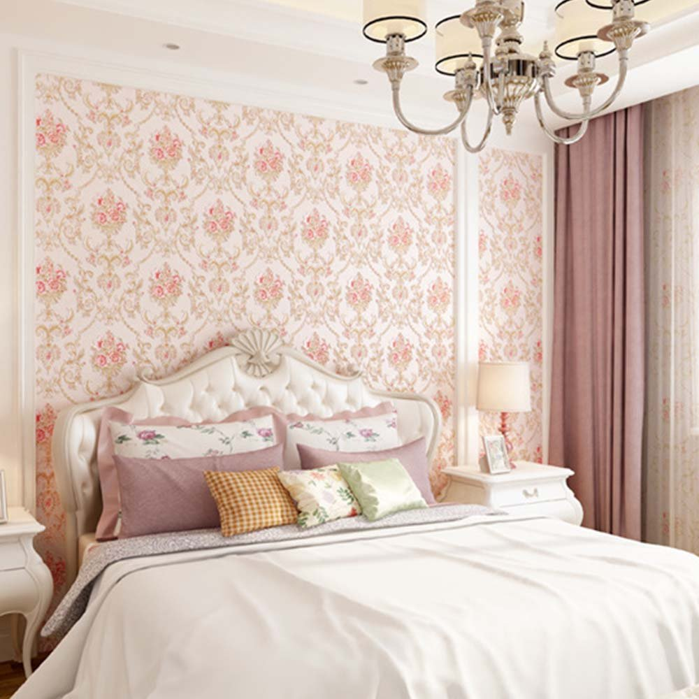 YJZ Girl Room Wallpaper 3D European Style Damask Non-Woven Wallpaper Vintage Luxury Flowers Embossed Textured Home Bedroom Livingroom,Pink by YJZ (Image #3)