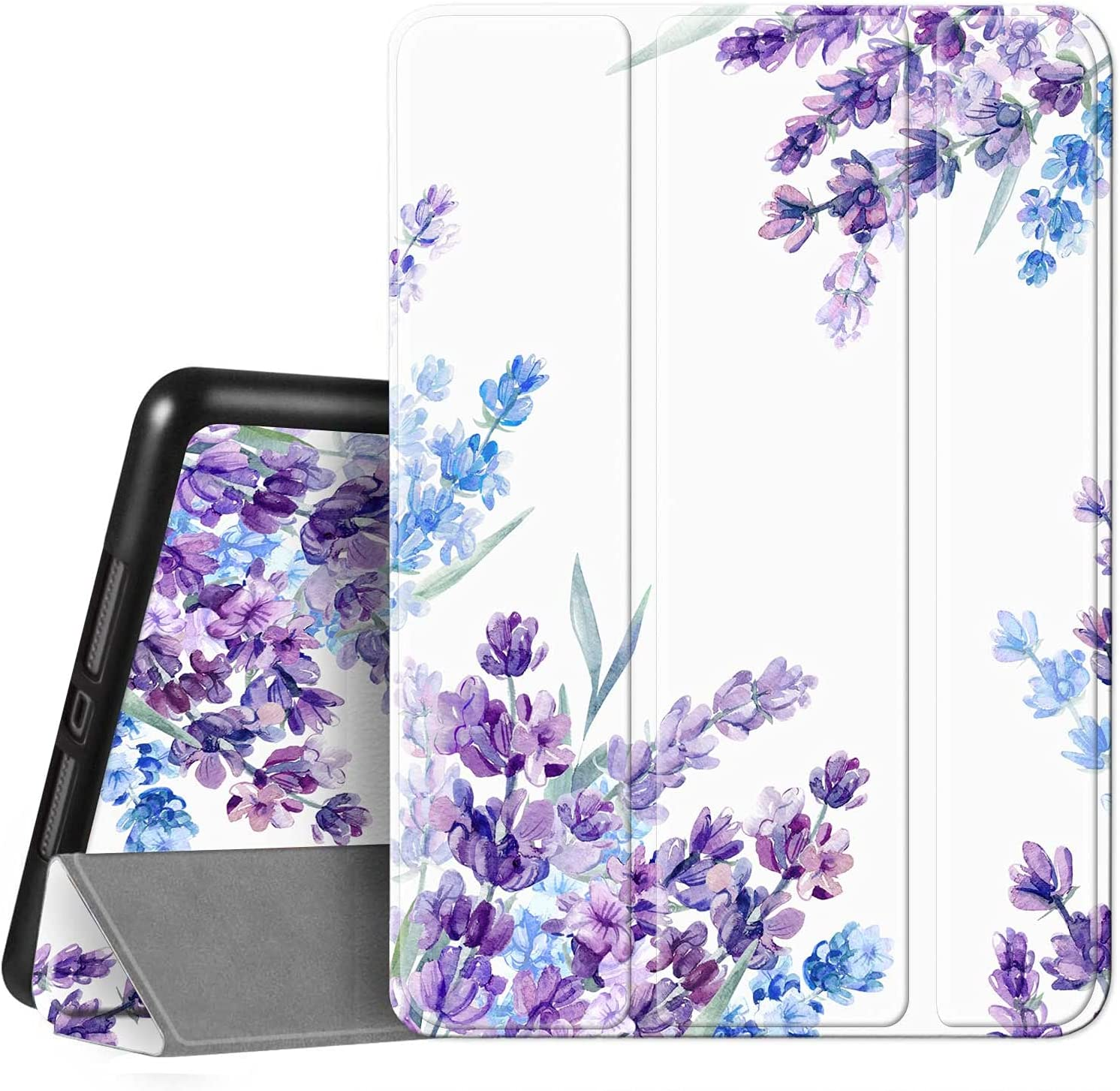 Hi Space iPad Case for iPad 10.2 8th/7th Generation & 10.5 Air 3th & iPad Pro 10.5 with Pencil Holder, Lavender Flower Floral Trifold Slim Stand Protective Smart Cover Shockproof Case Auto Sleep Wake