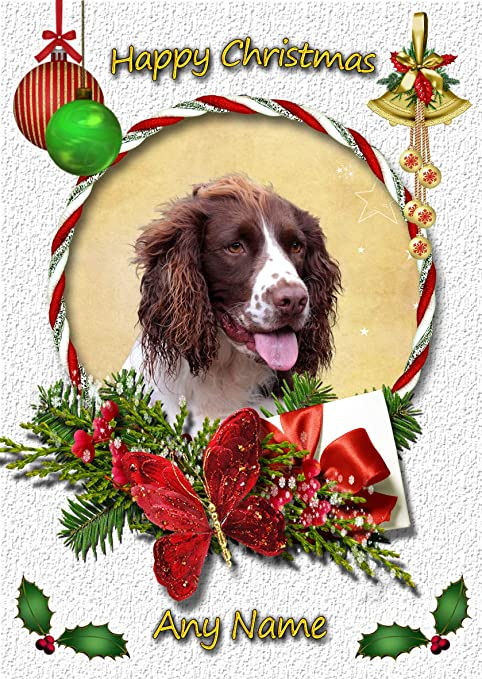 SPRINGER SPANIEL CHRISTMAS or BIRTHDAY CARD Personalised /& illustrated in /& out