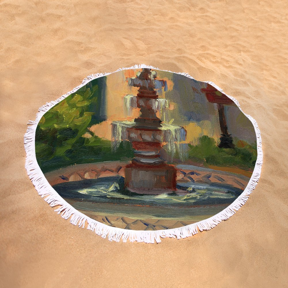 Pixels Round Beach Towel With Tassels featuring ''La Quinta Resort Fountain'' by Diane McClary