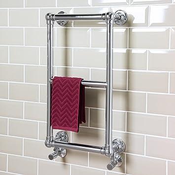Sèche-serviettes eau chaude 101W - 700 x 400 - Droit - Chrome ...