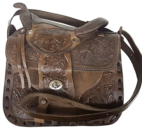 "Modestone Large Leather Cartera para Colgar del Hombro Decorative Saddle Shape 9 3/4"""