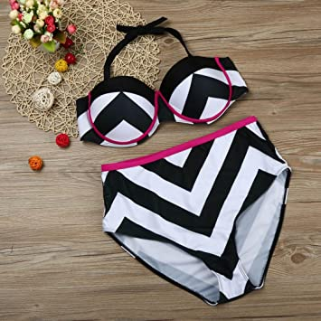 8a3478cda4c81 Amazon.com   Botrong Large Size Women Bra Swimsuit Bathing Stripe Bikini  Set High Waist Swimwear (US Size 14-16)   Garden   Outdoor