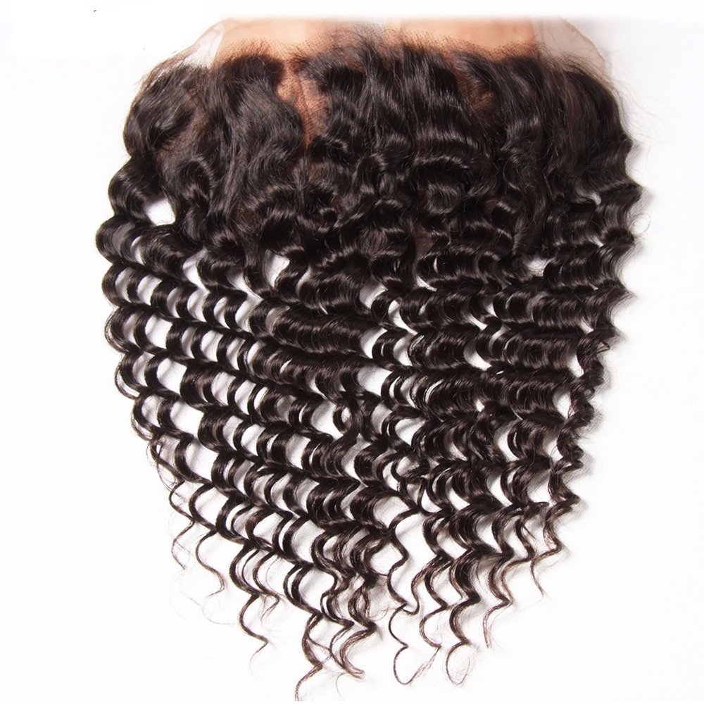 Dinoce Compatible with Longqi Brazilian Curly Hair Lace Frontal Ear to Ear Full Lace Remy Human Hair Jerry Curly Virgin Hair 13x4 Free Part Frontal Closure Natural 1B Color 14 Inch by Dinoce
