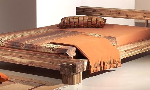Holzbett massiv 140x200  Modular cal140.41 Bett Cali / 140 x 200 cm / Akazie massiv, natur ...